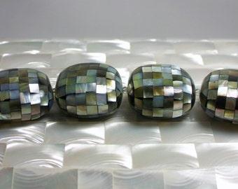 4pcs Black Lip Mosaic Shell Beads Large Puffed 30mm strand Jewelry Beads Jewellery Craft Supplies Square shape Organic