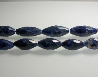 6pcs Strand Sodalite Semi Precious Gemstone Bead Strand Large 31 x 15mm Beads Blue Faceted Jewelry Jewellery Craft Supplies