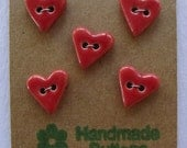 Buttons Ceramic Handmade Hearts Red Small