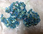 1 BOUQUET  VINTAGE Millinery Flowers Forget Me Nots Teal (Aqua Marine) Pink Composition Buds  for Weddings - Mothers Day & Easter