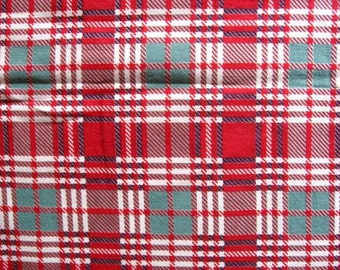 1930's Vintage Cotton Fabric, Feed Sack Fabric, Red, Green, White Plaid