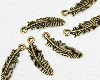 TierraCast Feather Charms - Antique Gold Charms - Gold Feather Drops 23mm Tall (P212)