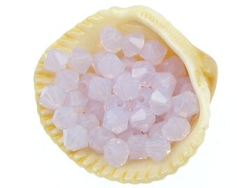 48 VIOLET OPAL 4mm Xilion Bicones 5301 5328 Swarovski Crystal Beads - Translucent Light Purple Beads