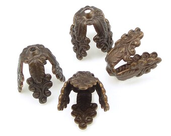 Vintaj WISTERIA Bead Caps - Antique Brass Beadcaps - Large, Aged Solid Brass Petal Shaped Caps - BC0009