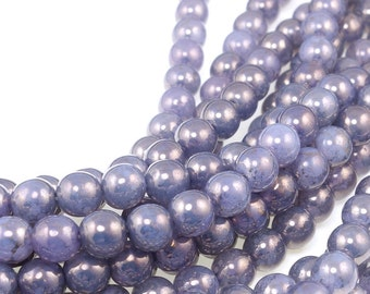 50 Milky Alexandrite Moon Dust 6mm Round Beads - Lavender Lilac Violet Purple Beads - Czech Glass Druks