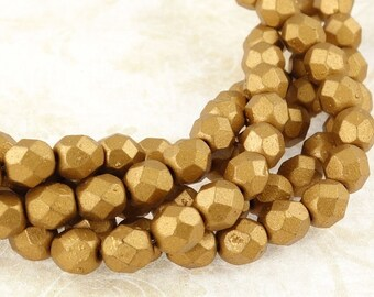 50 6mm MATTE METALLIC GOLDENROD Firepolish Czech Glass Beads - Fire Polish Faceted Autumn Fall Jewelry Supplies