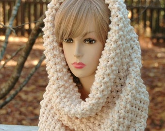 Cream Knit Infinity Scarf, Cowl, Hood, Circle Scarf, Chunky Knitted Cowl, Women's Scarf, Original Oversized Knit Design in Winter White