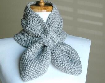Silver Gray Knit Scarf, Keyhole Scarf, Women's Scarf, Winter Scarf, Vegan Scarf, The Original Stay Put Scarf - Pull Through Keyhole Scarf