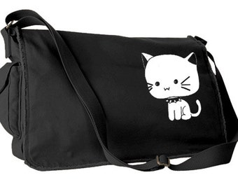 Goth Kitty Messenger Bag kawaii cute cat bag pastel goth school bag scene kitten gothic lolita laptop bag