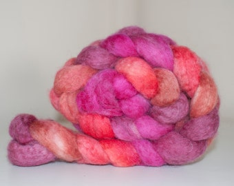 96g Handpainted Jacob Roving in Pink Parade Colourway