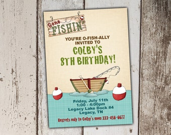 Fishing Birthday Invitations - gone fishing - print yourself JPG