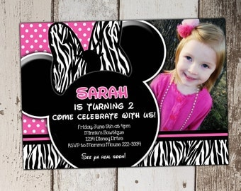 MORE STYLES - Pink Zebra Minnie Mouse Invitations with photo - Birthday Invitations - print yourself JPG