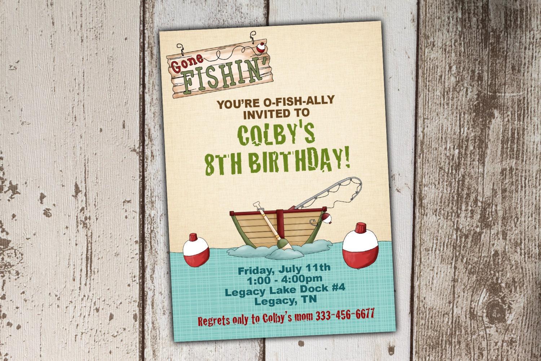 Fishing birthday invitations gone fishing print yourself for Fishing birthday invitations