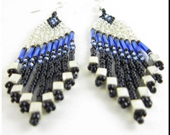 Native American Inspired Seed Bead Dangle Chandelier Earrings In Blue Diagonals