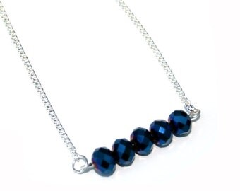 Midnight Blue Beaded Bar Necklace, Faceted Glass, Crystal Bar Necklace, Statement Necklace