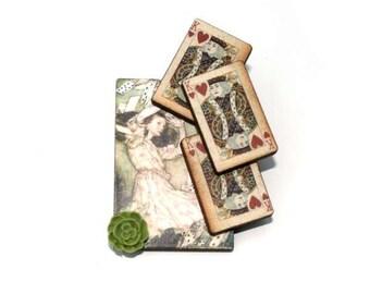 Alice in Wonderland Brooch, Flying Cards Brooch, Tenniel Illustration, Altered Art, Mixed Media, Wood Jewelry