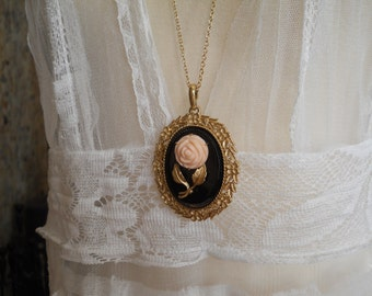 Vanity Mirror Pendant Vintage Necklace with Black Gold Pink Carved Rose Long Chain Check Your Lipstick in Style on the Go