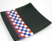 Fused Glass Serving Plate - Black Glass, Red, White and Blue Checked Plate, Glass Platter