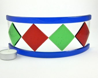 Red and Green Candle Screen - Red, Green and Blue Fused Glass Candle Shield - Handmade Glass Candle Holder - Christmas Decoration