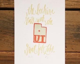 Utah Letterpress State Print