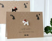 Handmade Christmas Card. Xmas Card. Holiday Card. Christmas Card. Christmas Cards. Scottie Dog. Dog Card. Card for Dog Lovers. Xmas. Puppy