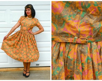 SALE 1950s Vintage Swing Dancing Dress Sock Hop Dress Orange Teal Pink Floral Dress Full Skirt with Matching Belt June Cleaver Size Small