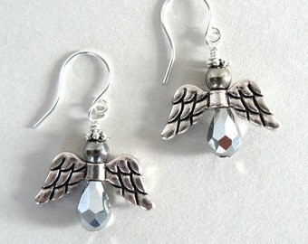 Silver Angel Earrings, Beaded Angels, Spiritual Jewelry, Angel Jewelry, Christian Jewelry, Gift for Her