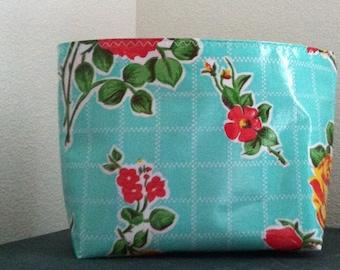 Beth's Medium Aqua Vintage Rose Oilcloth Cosmetic Bag