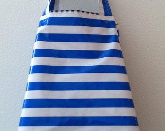 Beth's Blue Stripes Oilcloth Market Sac Tote Bag