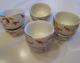 Vintage Hall's Jewel Autumn Leaf Ramekin custard cups 7 great condition colors orange yellow brown Halls Superior Jewel Tea kitchenware