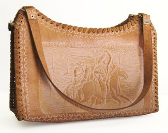 Vintage Tooled Mexican Tan Leather Bag / Western Style / Cowboy Horses Cowgirl Rancho Rockabilly / Tooled Leather Purse / Mexican Theme Bag
