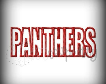 Panthers Word Embroidery Applique Design