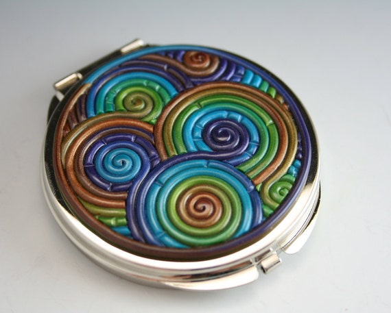Fimo Compact Mirror in Peacock Colors Filigree (Pewter Finish)