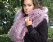 Faux fur silver pink fox fall scarf, glamorous smoky pink fox cowl, fall fashion luxurious accessories, fox shawl, winter fur scarf