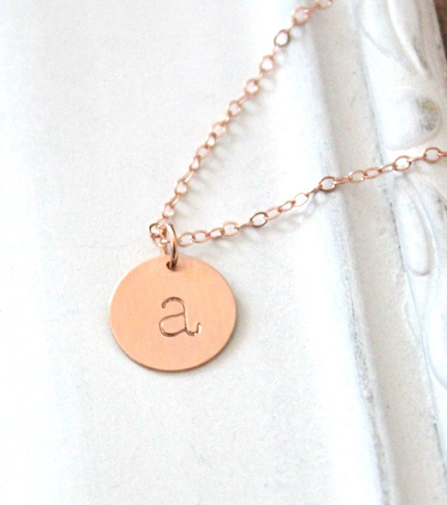 Rose gold initial necklace personalized necklace by for Rose gold personalized jewelry