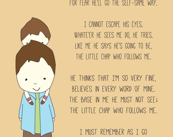 Typographic Print-The Little Chap Who Follows Me-Father and Son, Father's Day, Poem, Poetry, Typography