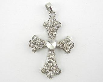 Silver-tone Rhinestone Cross Pendant
