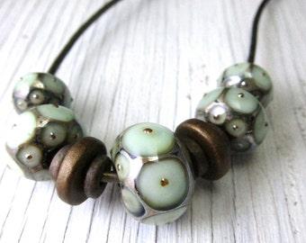 White  Murano Glass Necklace, Murano Glass Leather Necklace