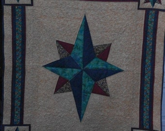 Mariner's Compass Quilt 62 inches x 56 inches