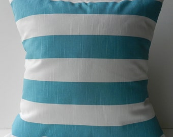 New 18x18 inch Designer Handmade Pillow Case aqua stripe on white.
