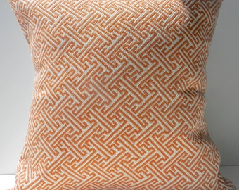 New 18x18 inch Designer Handmade Pillow Cases in orange and cream greek key pattern