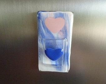 Blue and Pink Sweetheart Glass Pocket Magnetic Vase