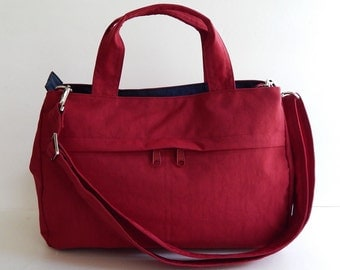 Sale - Water-Resistant Bag in red- messenger bag, tote, purse, crossbody bag, everyday bag, handbag - ANNIE