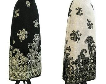 70s Skirt Vintage Border Print Gold Black Paisley Damask Wrap Maxi M Reversible