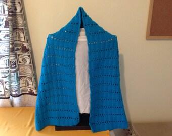 Crochet Shawl Wrap Stole turquoise
