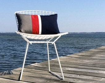 Nautical OUTDOOR Colorblock Pillow Cover (Custom Colors) - Modern Decor by JillianReneDecor - Gray, Red, White & Navy - Summer Decor