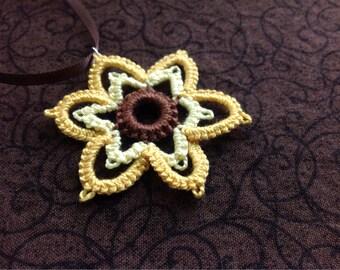 Sunflower Needle Tatted pendant