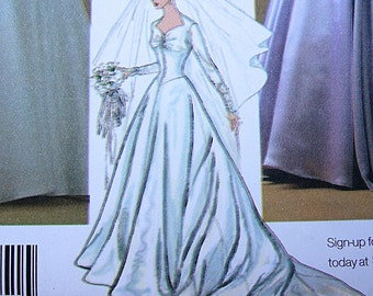 Wedding Sewing Pattern Simplicity RETRO 1950s Drop Waist Jewel Bodice Flared Dress Trainl 14 - 16 - 18 - 20 - 22 All Uncut Factory Folds