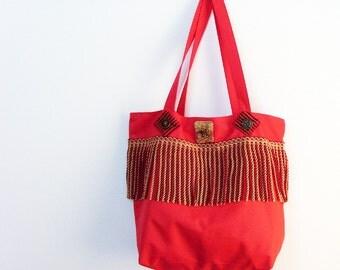 Large Red Tote Bag / Regal Gold - Red Bullion Trim / Pomp and Circumstance Bag / Velvet Damask Zippered Fashion Bag / OOAK Gift Under 50