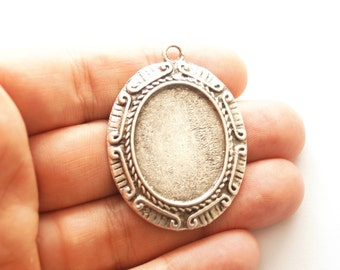 1 pc-Matte Silver Plated Cabochon base, Mountings, Findings-45x35mm-(408-003SP)
